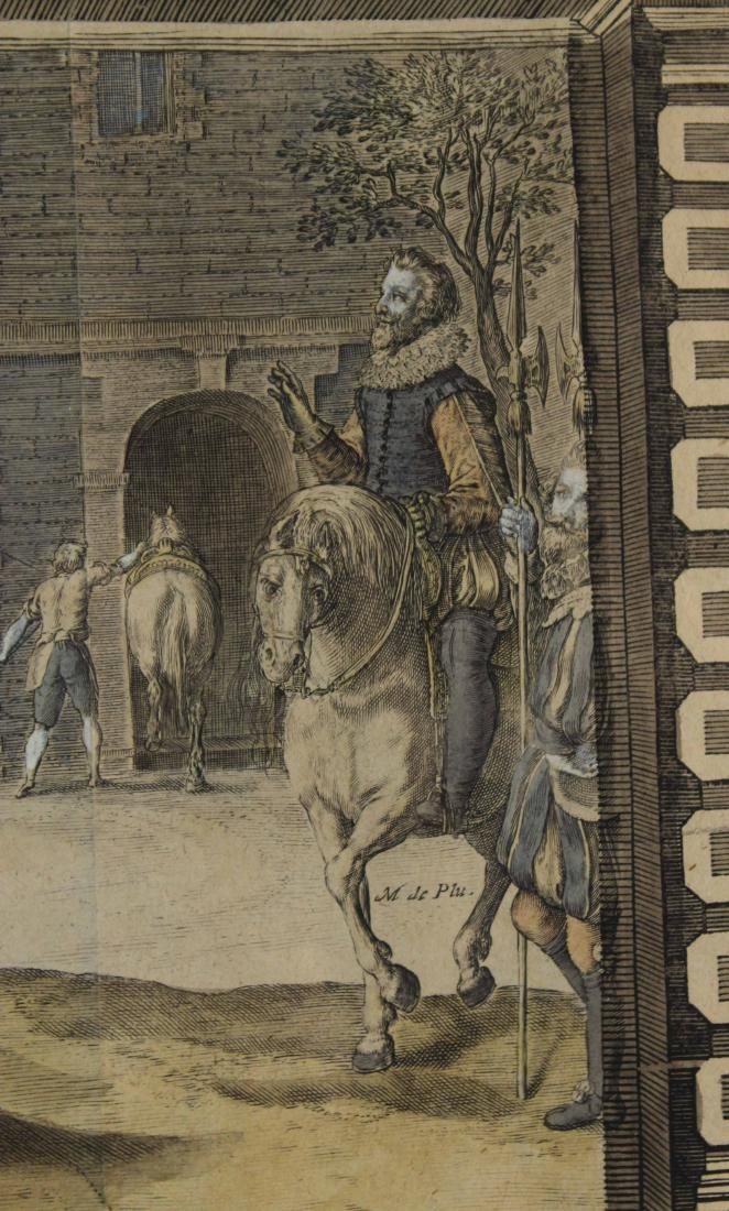 Two Hand-Colored Engravings, Figures & Horse - 10