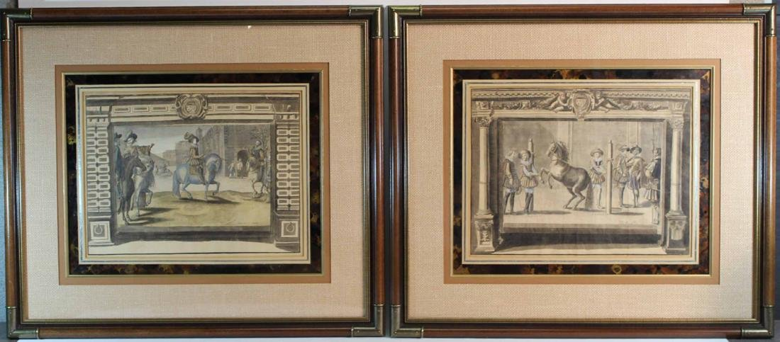 Two Hand-Colored Engravings, Figures & Horse
