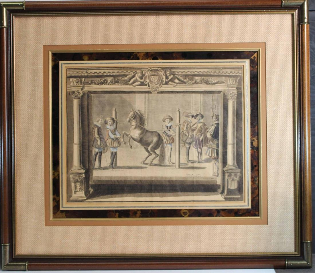 Two Hand-Colored Engravings, Figures & Horse - 2