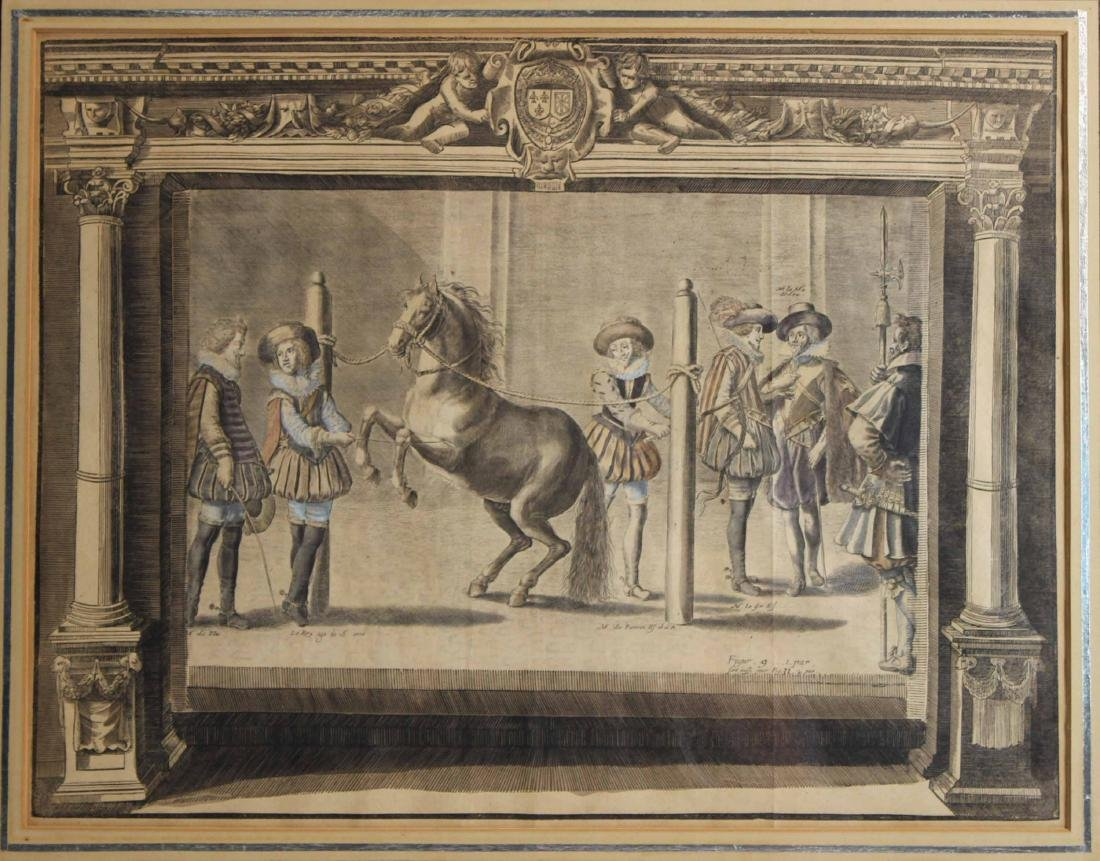 Two Hand-Colored Engravings, Figures & Horse - 3