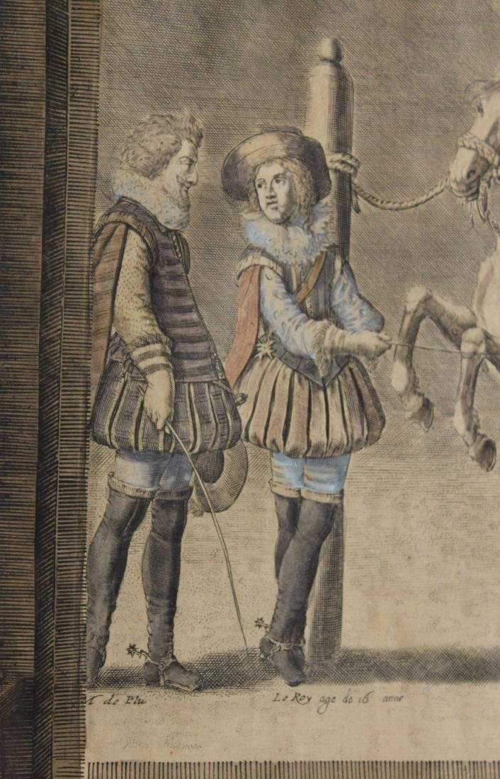 Two Hand-Colored Engravings, Figures & Horse - 6