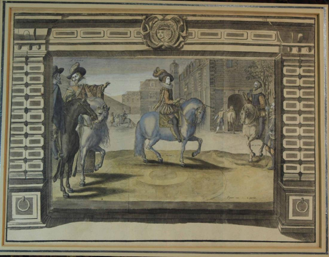 Two Hand-Colored Engravings, Figures & Horse - 7