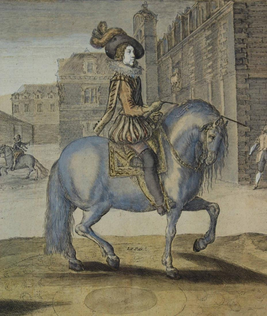 Two Hand-Colored Engravings, Figures & Horse - 8