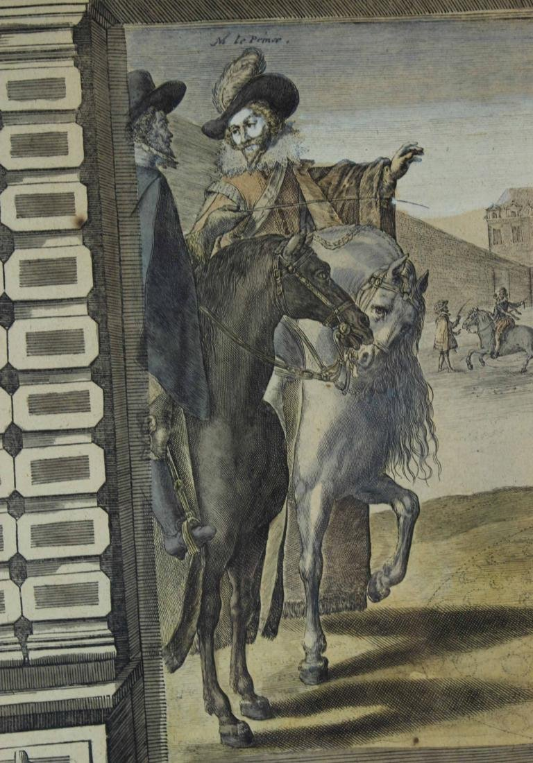 Two Hand-Colored Engravings, Figures & Horse - 9