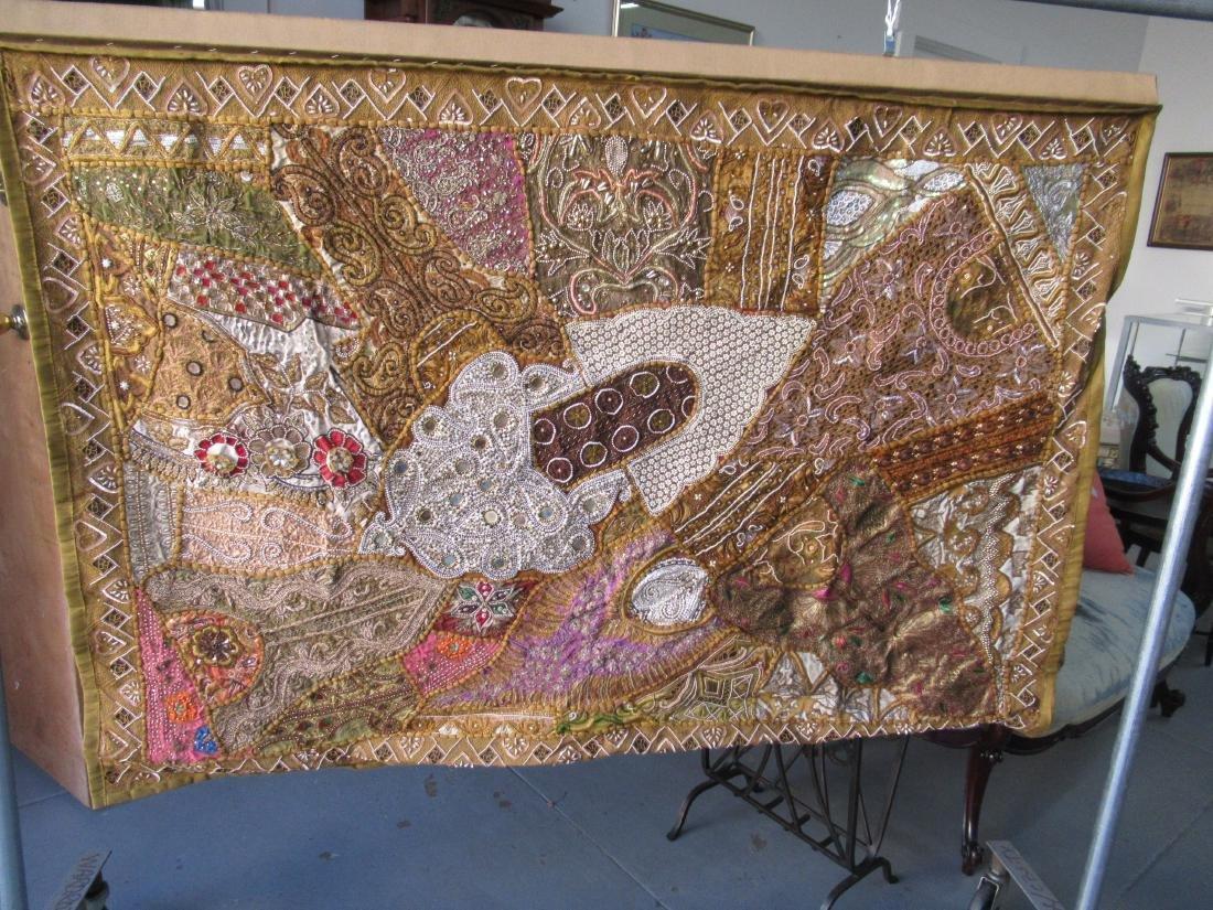 Indian Beaded Needlework on Silk Wall Hanging