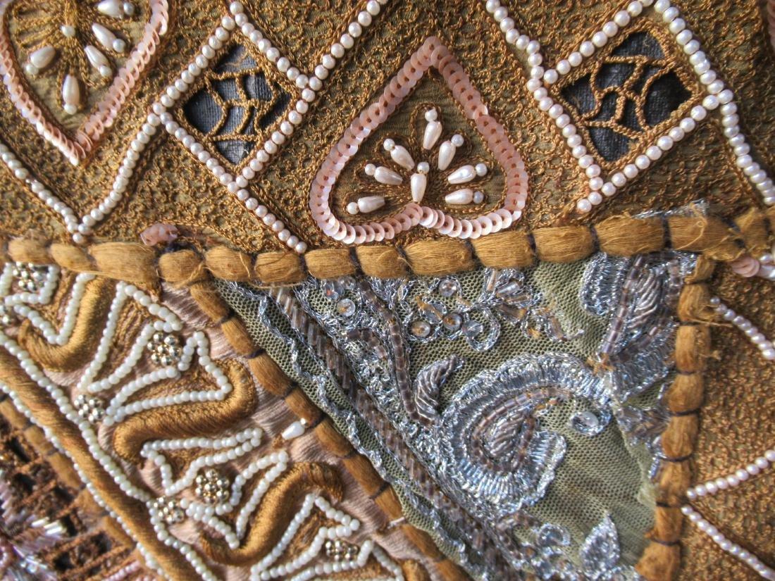 Indian Beaded Needlework on Silk Wall Hanging - 2