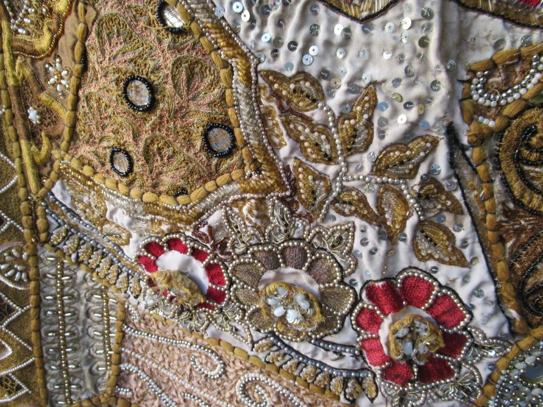 Indian Beaded Needlework on Silk Wall Hanging - 3