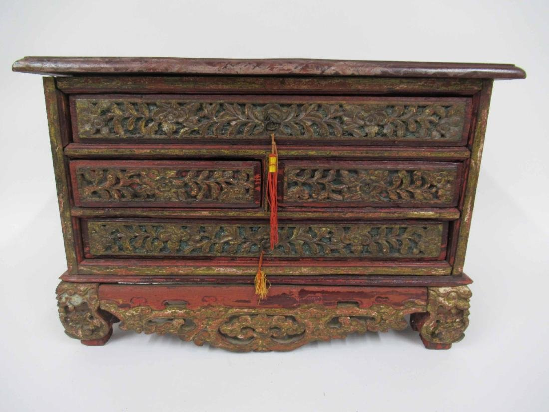 Chinese Carved Hardwood 4 Drawer Chest on Stand