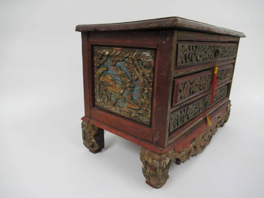 Chinese Carved Hardwood 4 Drawer Chest on Stand - 2