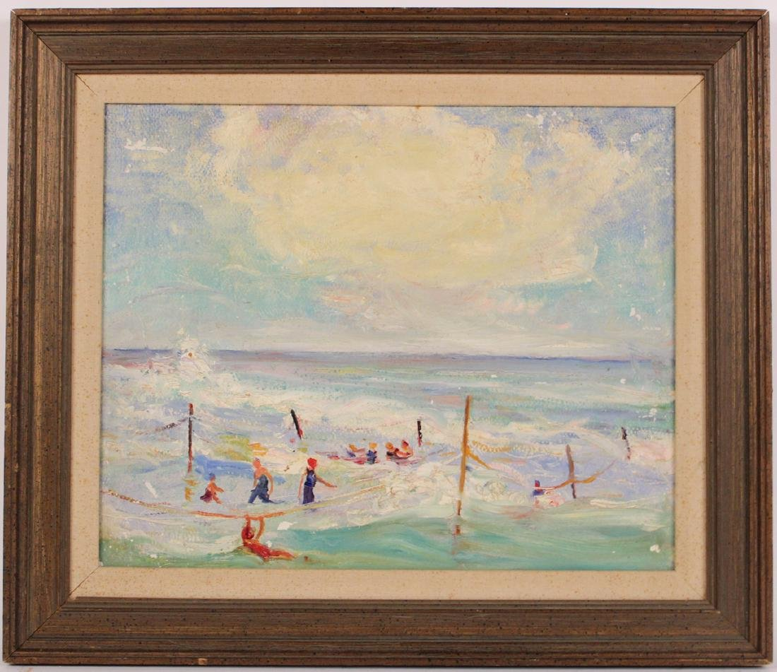 Oil on Board, Seascape with Figures