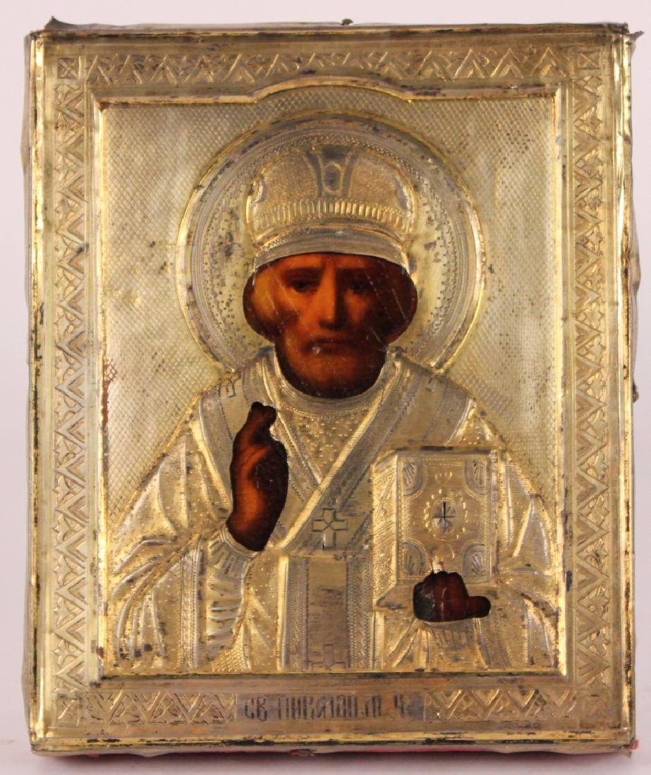 Silver Over Oil on Panel Russian Icon