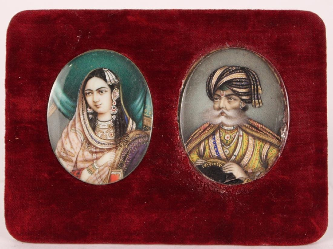 Pair of Oil on Paper Miniature Portraits
