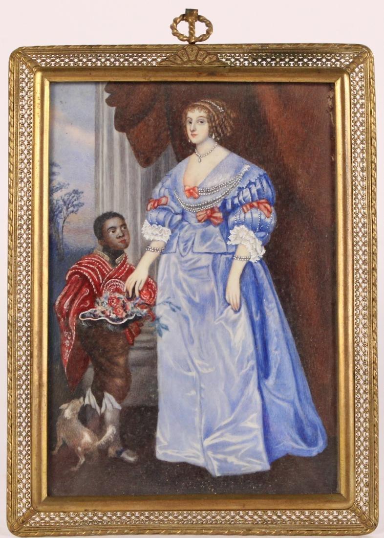 Oil on Paper Miniature Portrait of Lady