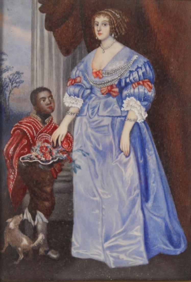Oil on Paper Miniature Portrait of Lady - 2