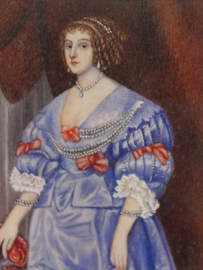 Oil on Paper Miniature Portrait of Lady - 3