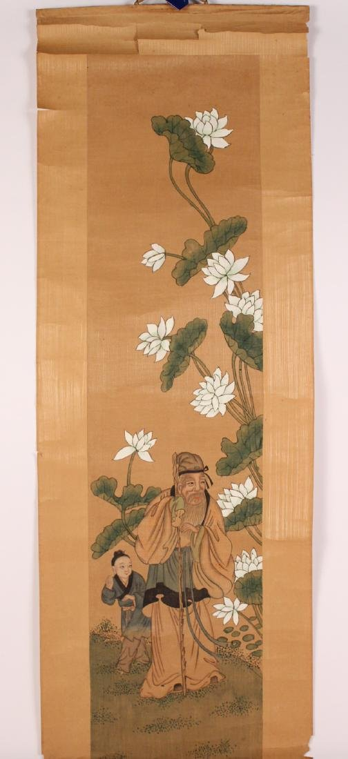 Chinese Watercolor on Paper Scroll
