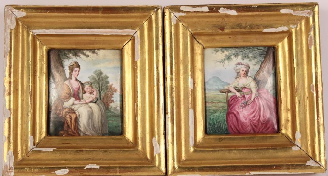 Pair of Miniature Paintings on Tile