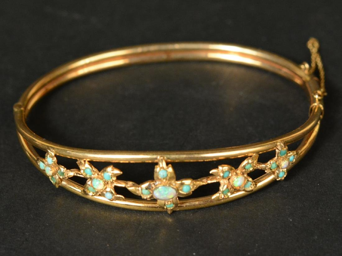 Unmarked Yellow Gold Hinged Bangle
