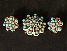 14K Yellow Gold Turquoise Suite