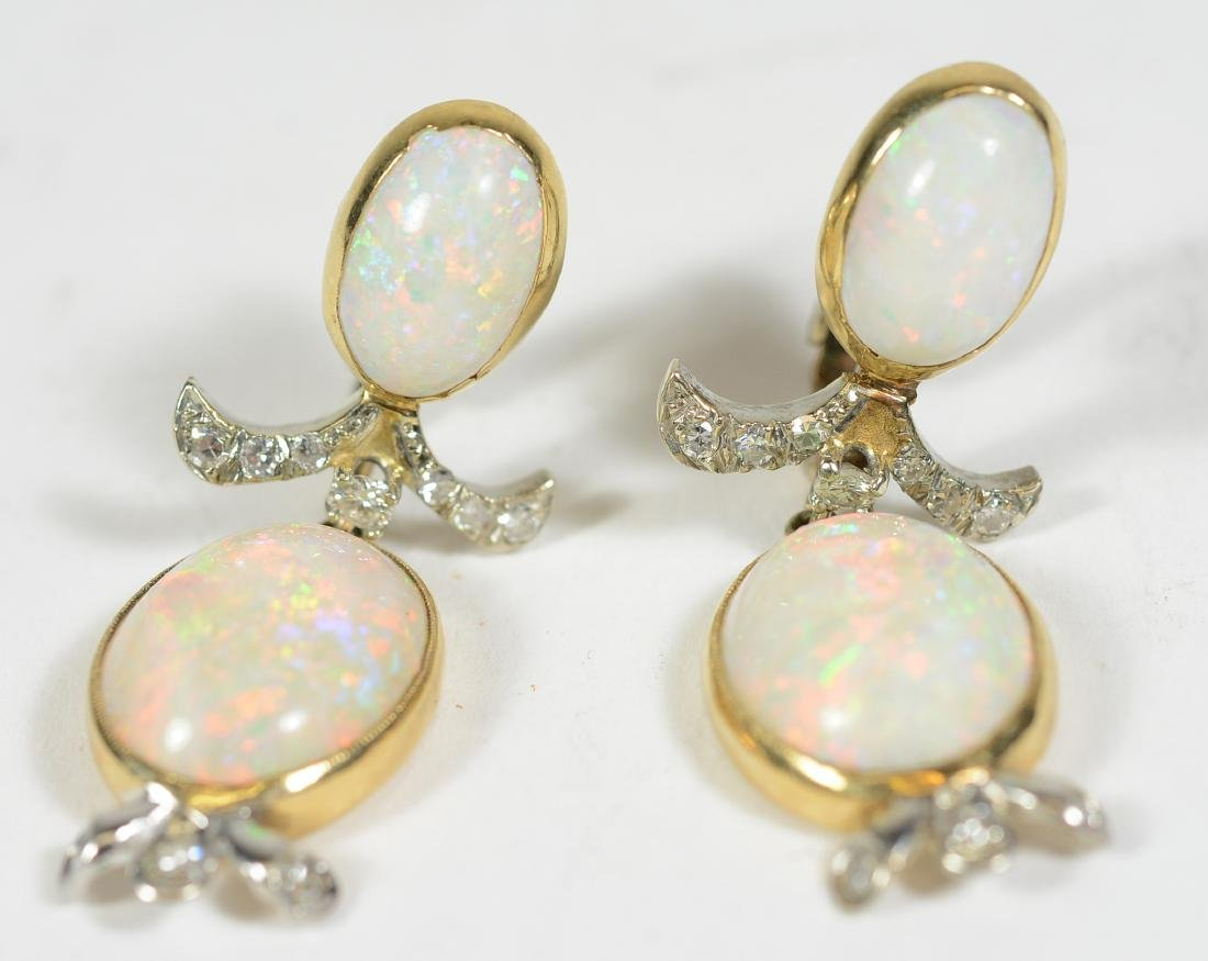 14K Yellow Gold Platinum Opal Diamond