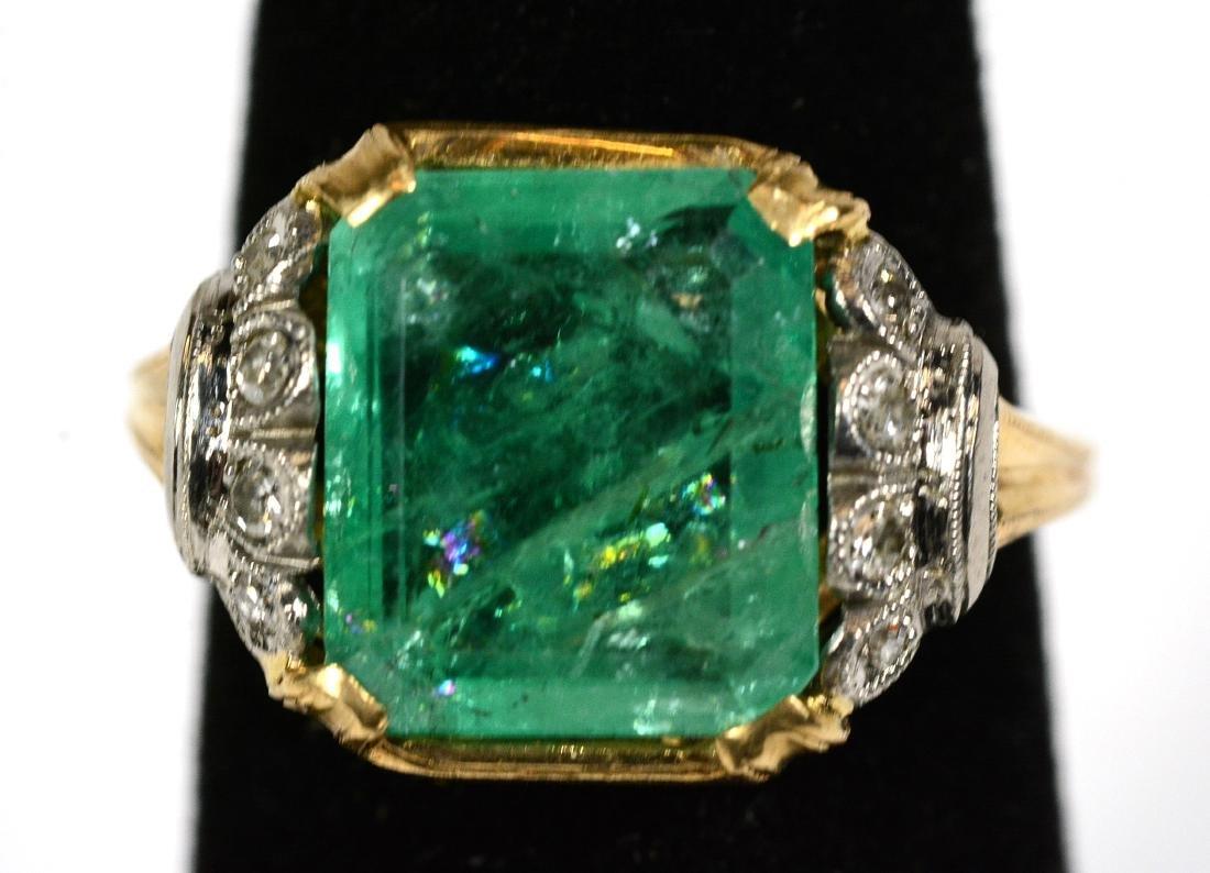14K Yellow Gold Emerald Diamond Ring
