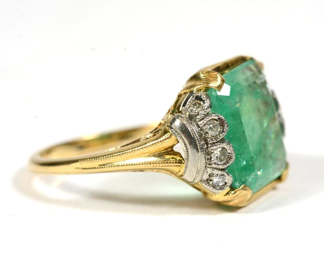 14K Yellow Gold Emerald Diamond Ring - 2