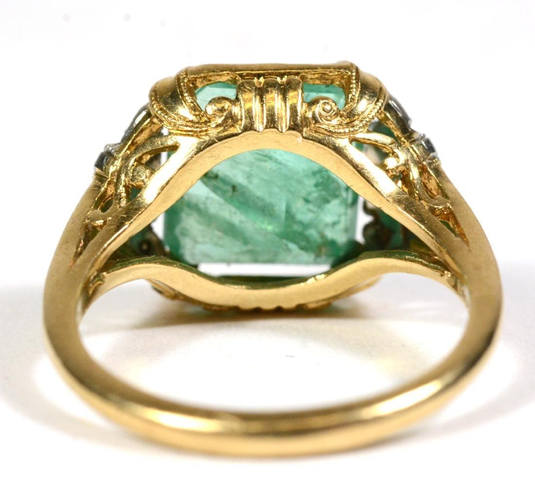 14K Yellow Gold Emerald Diamond Ring - 3