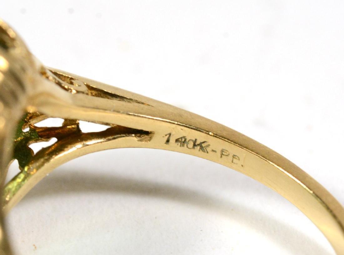 14K Yellow Gold Emerald Diamond Ring - 4
