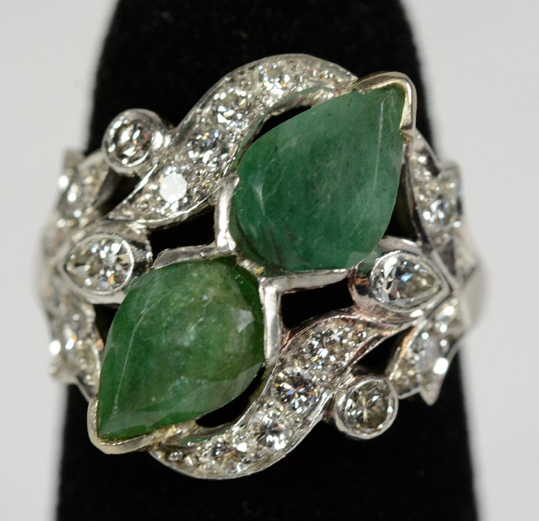 Platinum Green Hardstone Diamond Ring