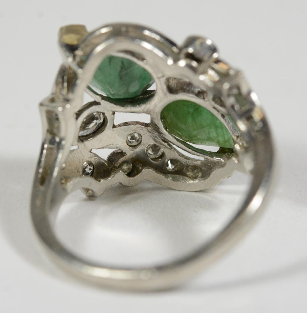 Platinum Green Hardstone Diamond Ring - 2