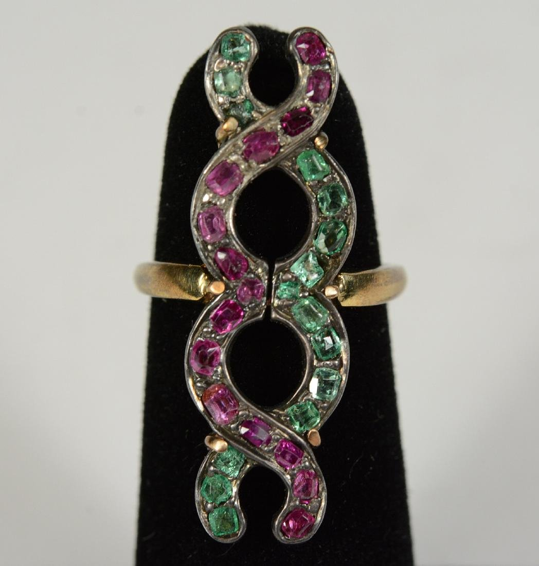 Yellow Gold Pink & Green Hardstone