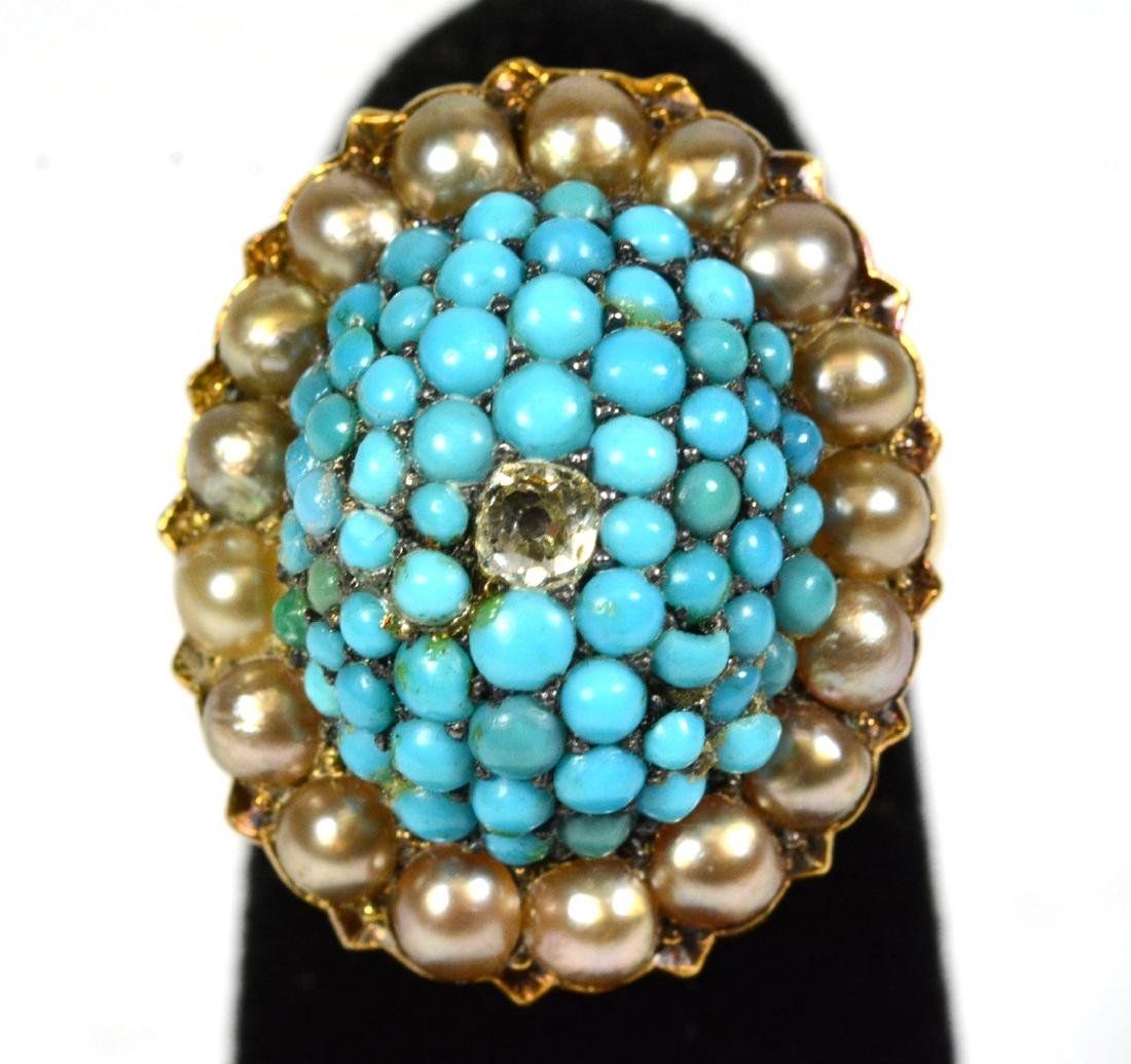 Yellow Gold Turquoise Pearl Ring