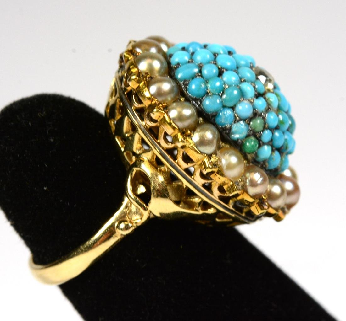Yellow Gold Turquoise Pearl Ring - 2