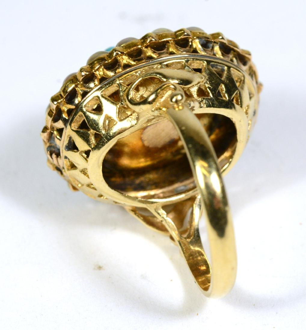 Yellow Gold Turquoise Pearl Ring - 3