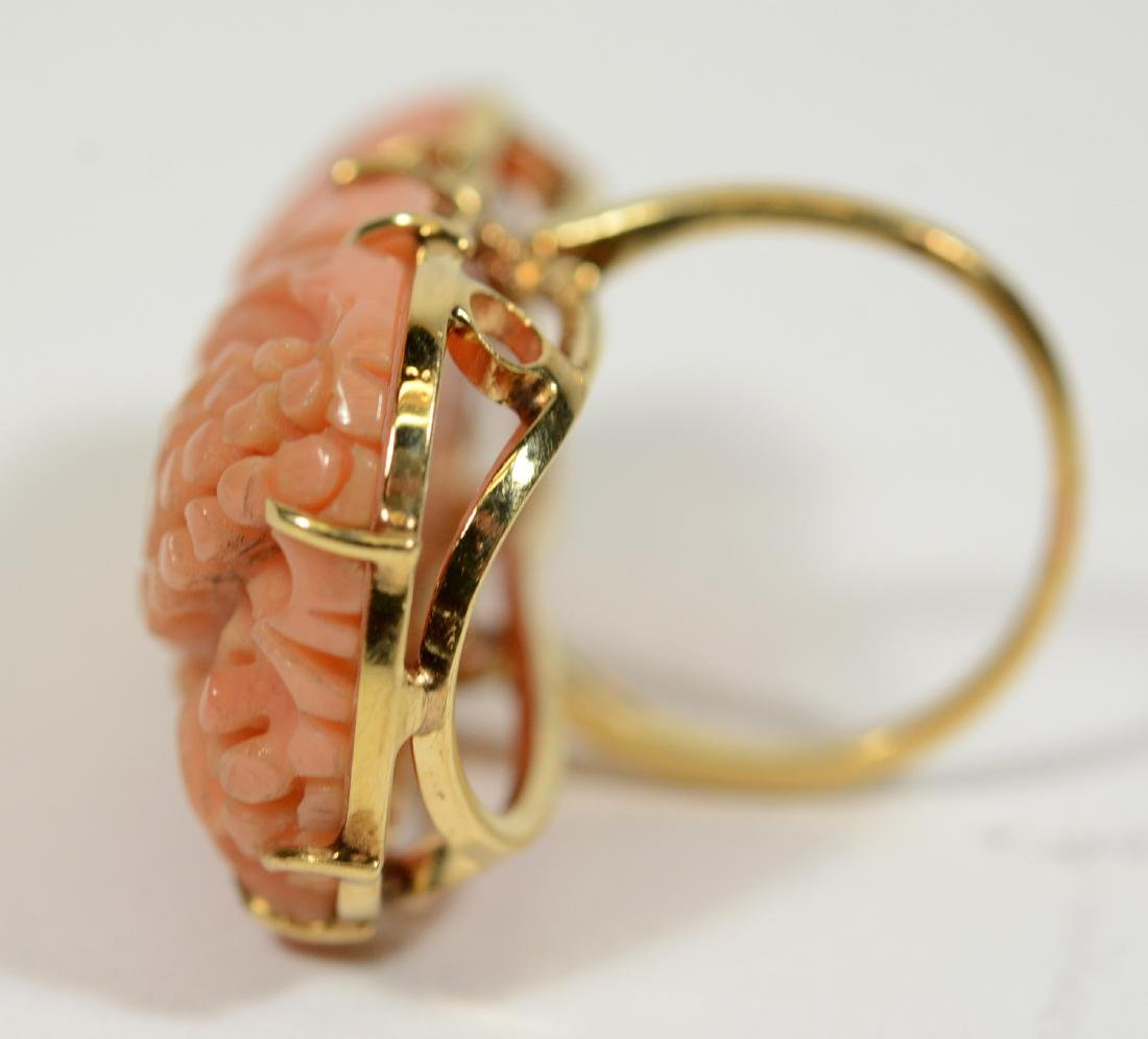 14K Yellow Gold & Carved Coral Ring - 3