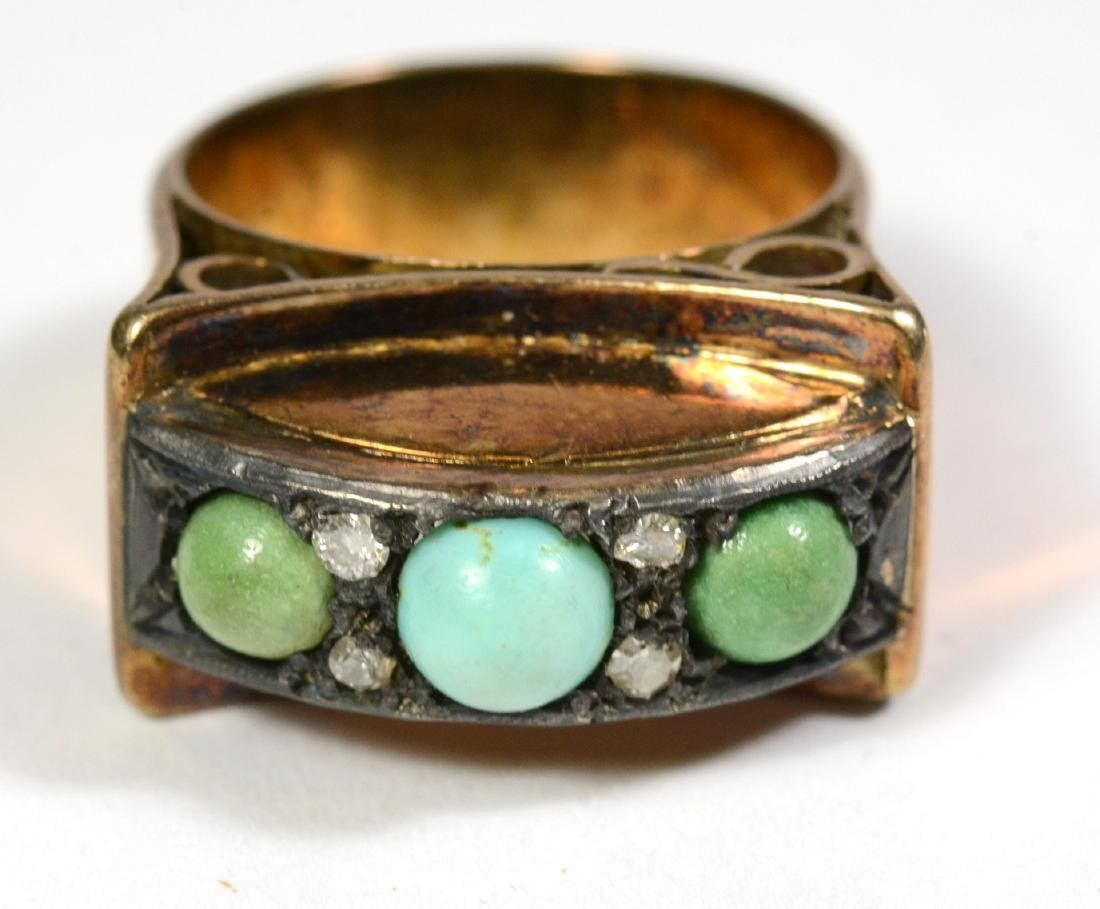 Modernist Metal & Turquoise Beaded Ring