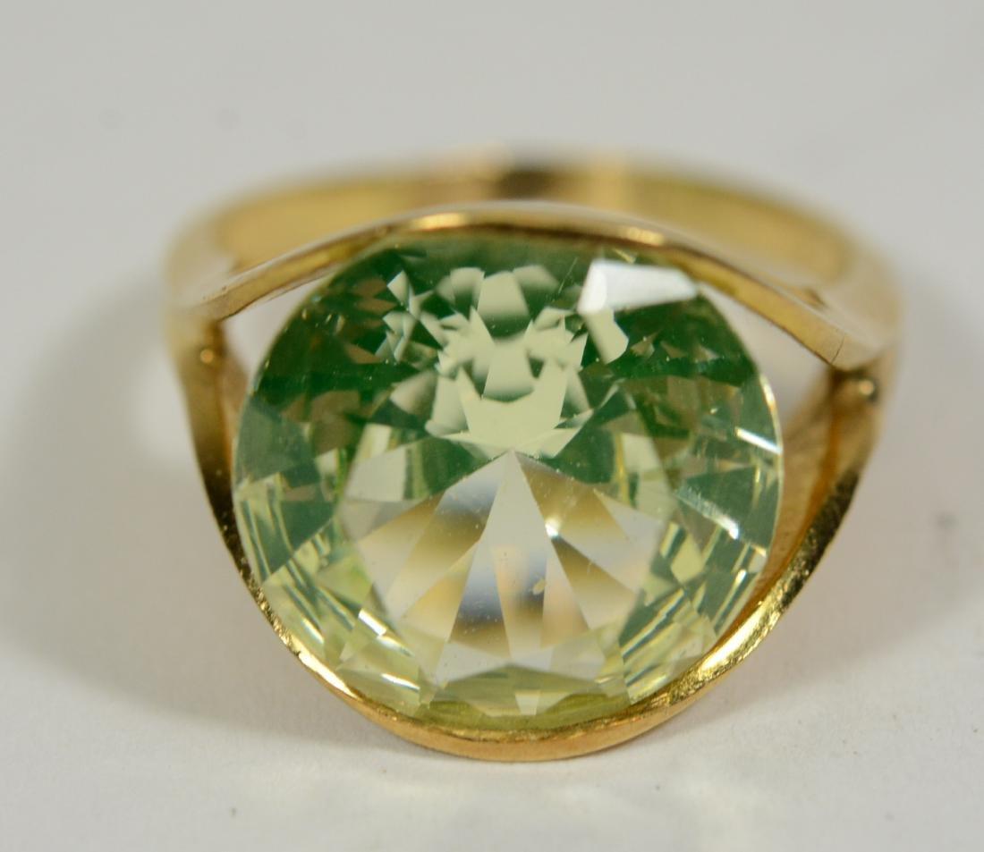 Modernist Yellow Gold & Lemon Quartz Ring