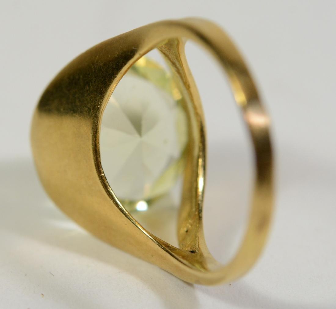 Modernist Yellow Gold & Lemon Quartz Ring - 3