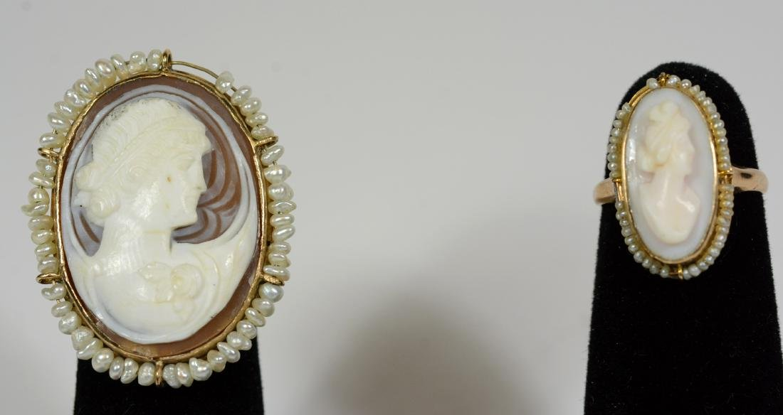 Yellow Gold Cameo Seed Pearl Ring
