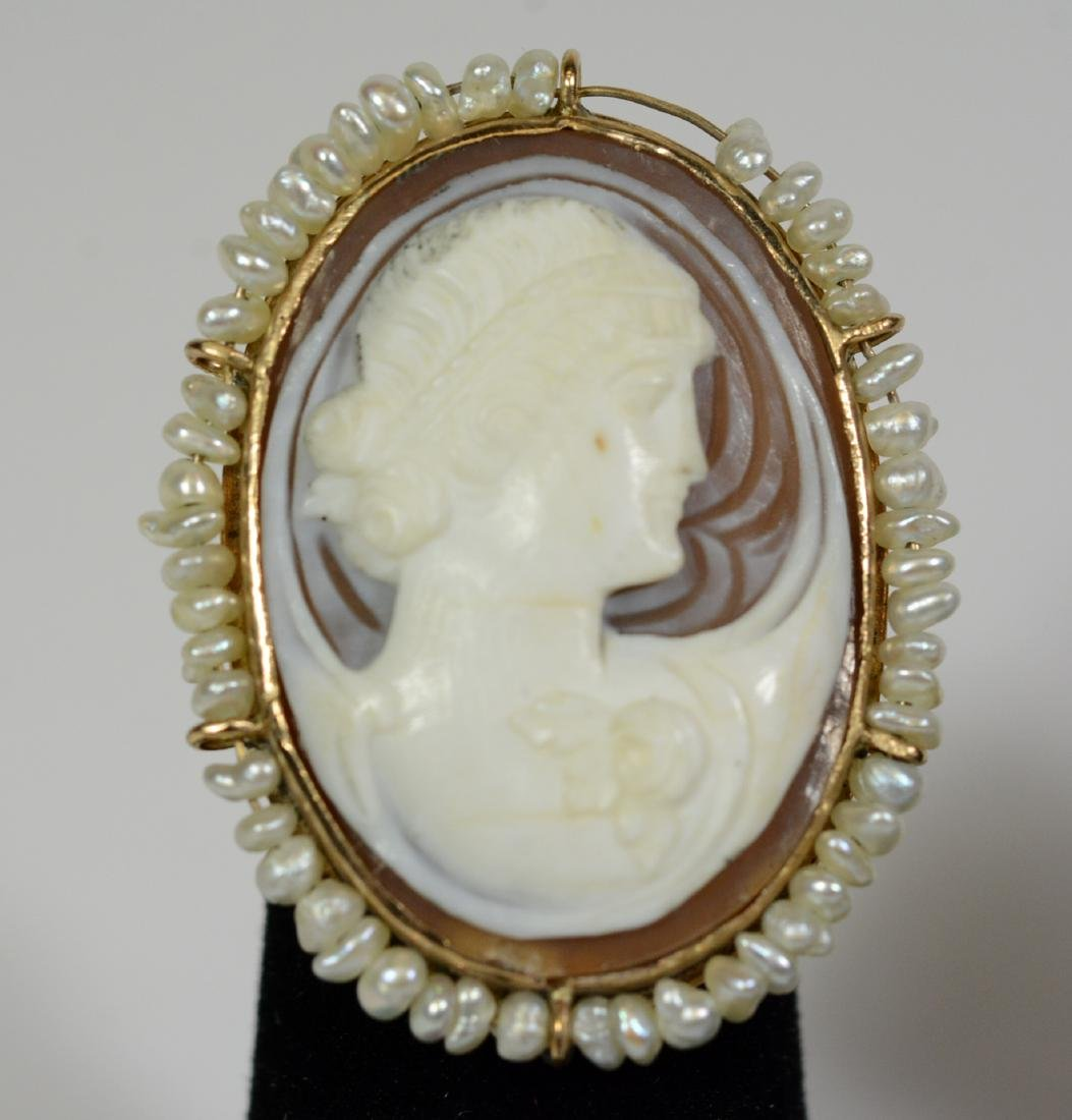 Yellow Gold Cameo Seed Pearl Ring - 3