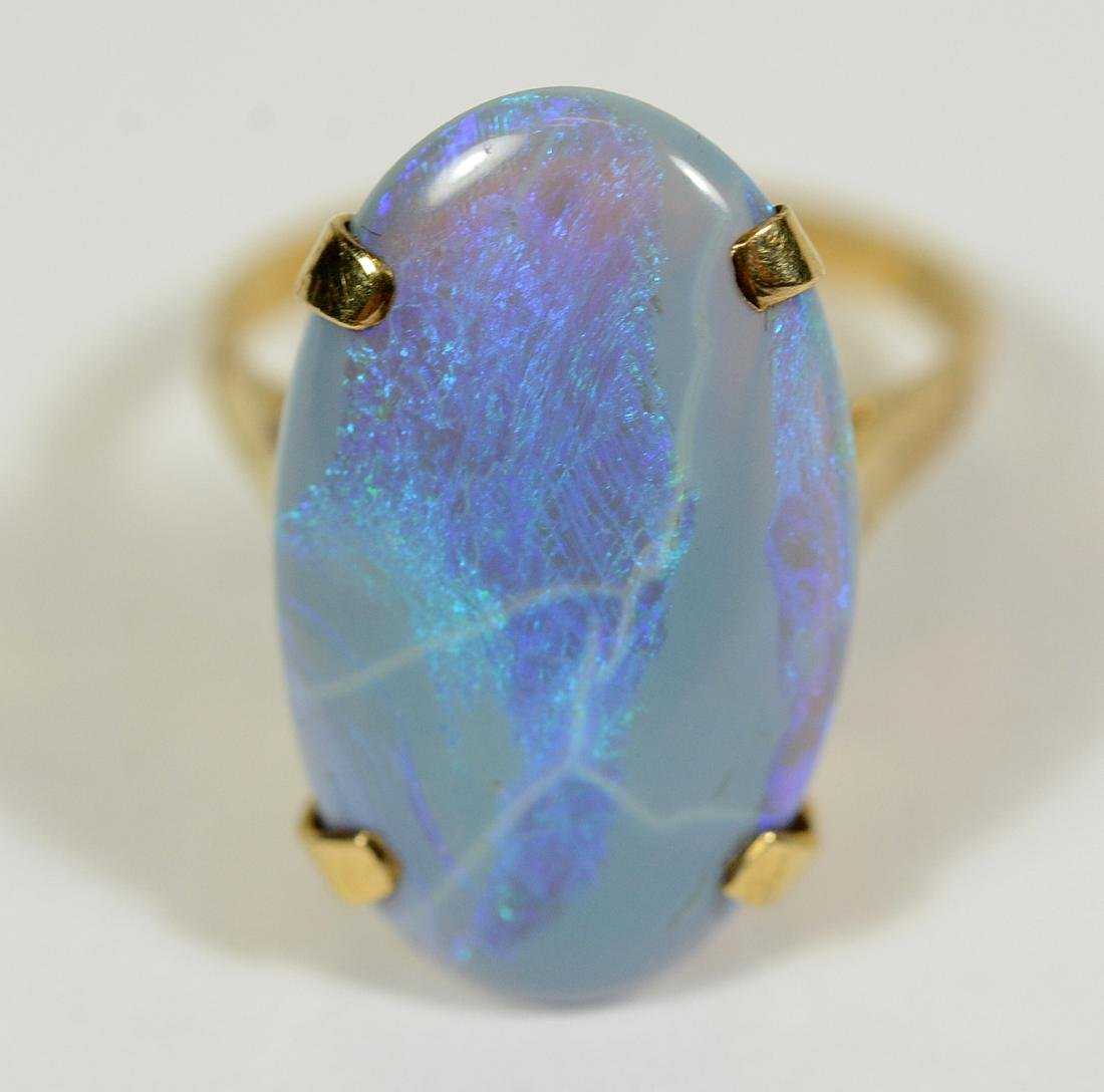 Yellow Gold Lavender Opal Ring