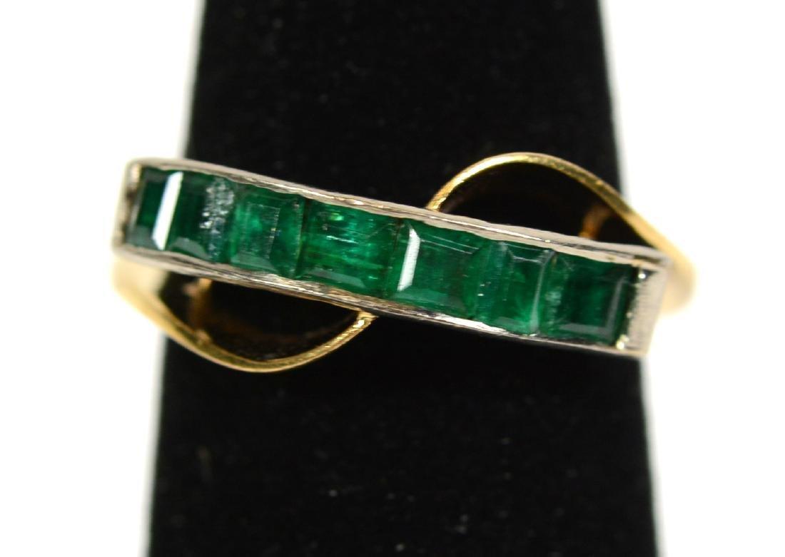 Modernist Yellow Gold Emerald Ring