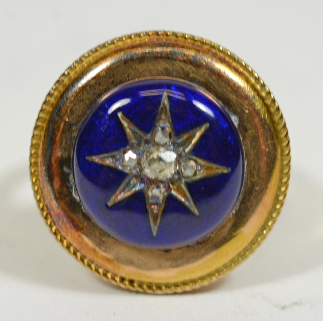 Yellow Gold Blue Enamel Center Star Ring