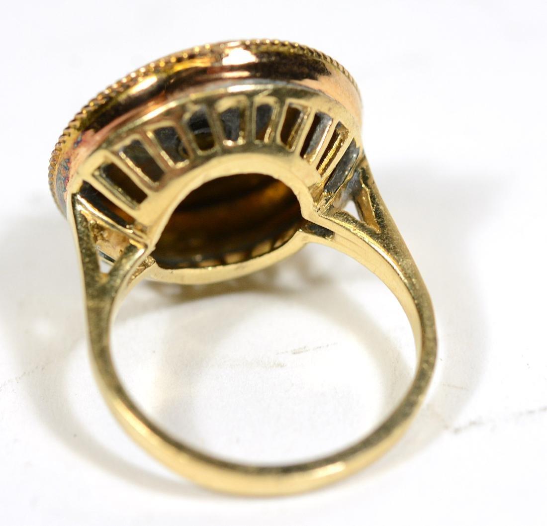 Yellow Gold Blue Enamel Center Star Ring - 2