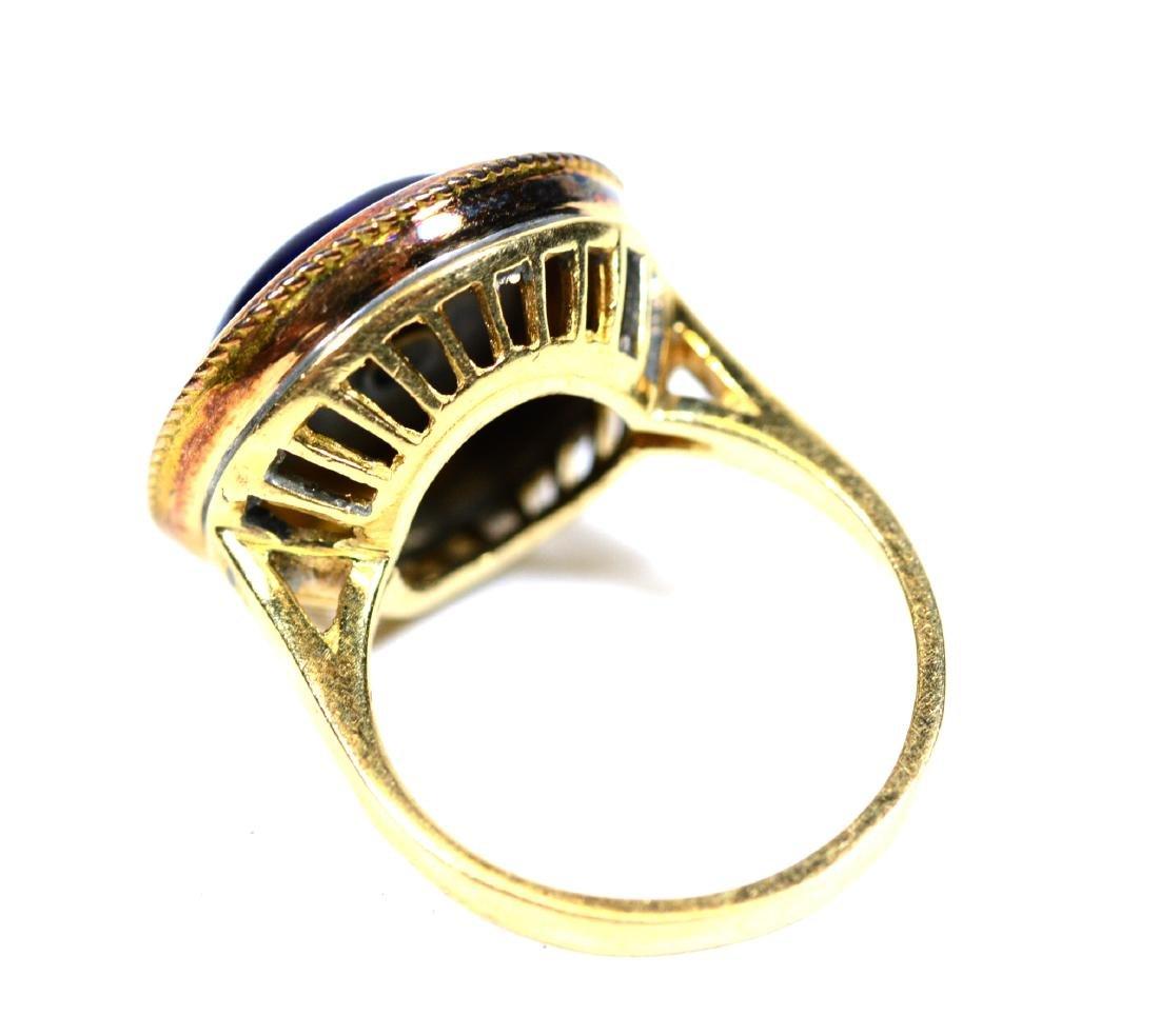 Yellow Gold Blue Enamel Center Star Ring - 3