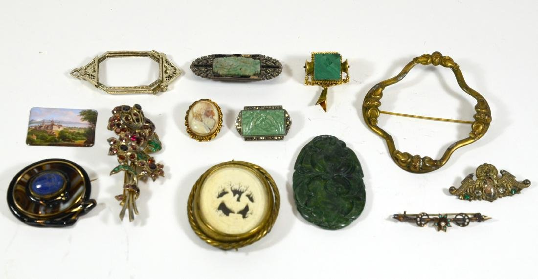 Two Silver and Jade Brooches
