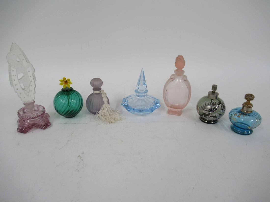 Seven Color Glass Perfume Bottles with Stoppers