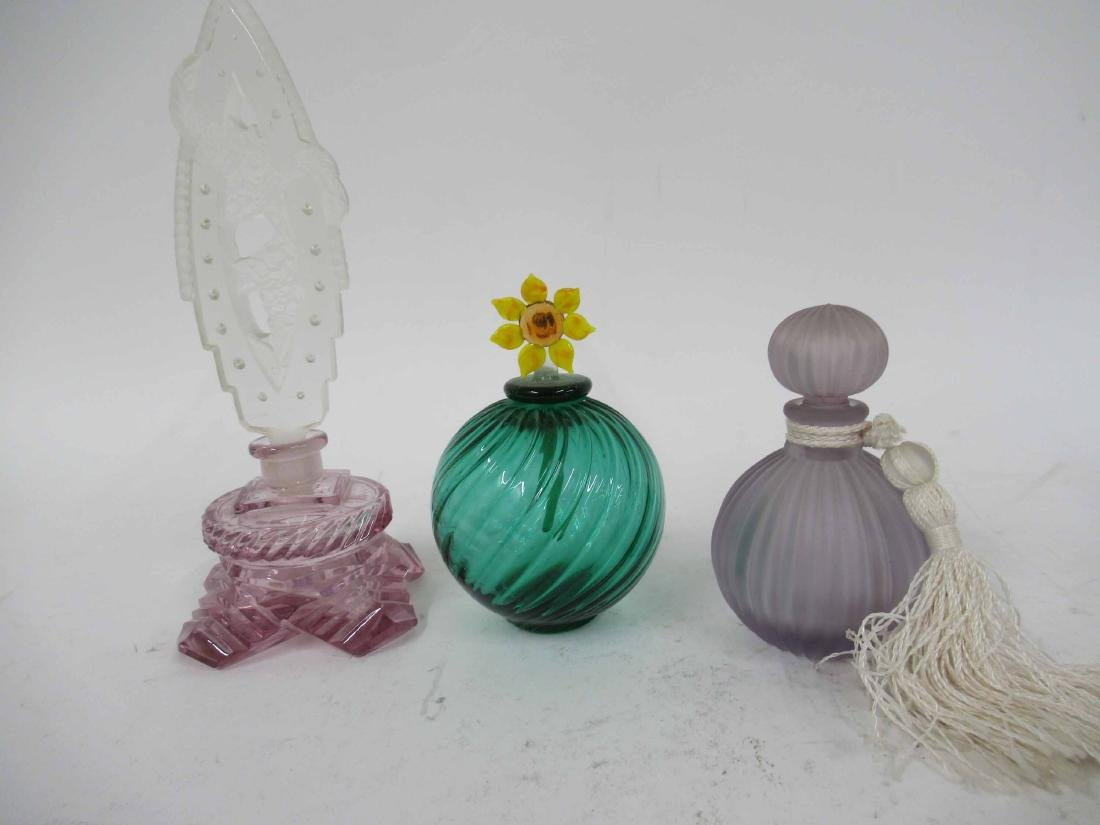 Seven Color Glass Perfume Bottles with Stoppers - 2