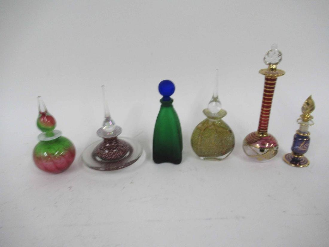 Six Art Glass Perfume Bottles and Stoppers - 8