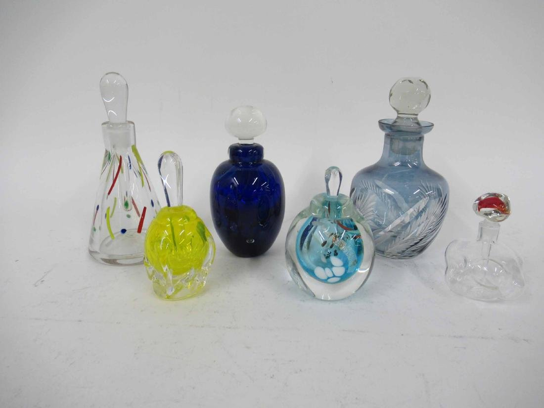 Six Art Glass Perfume Bottles and Stoppers